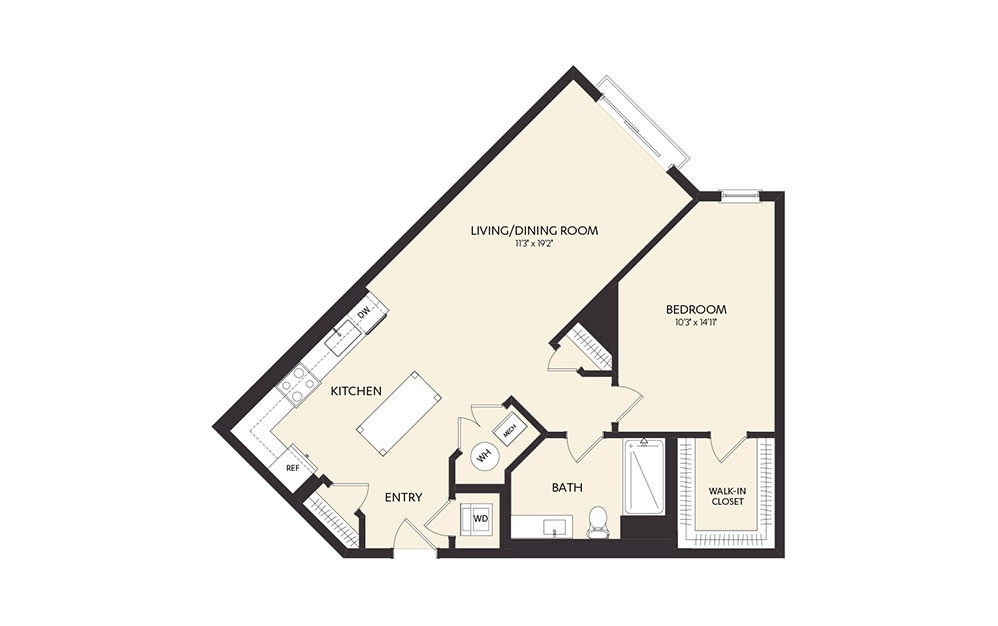 B1C 1 Bedroom 1 Bath Floorplan