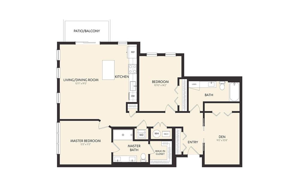 C11C 2 Bedroom 2 Bath Floorplan