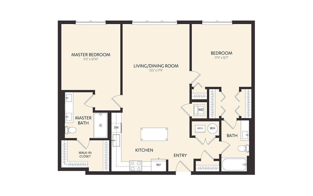 C3D - 2 bedroom floorplan layout with 2 baths and 1146 square feet.