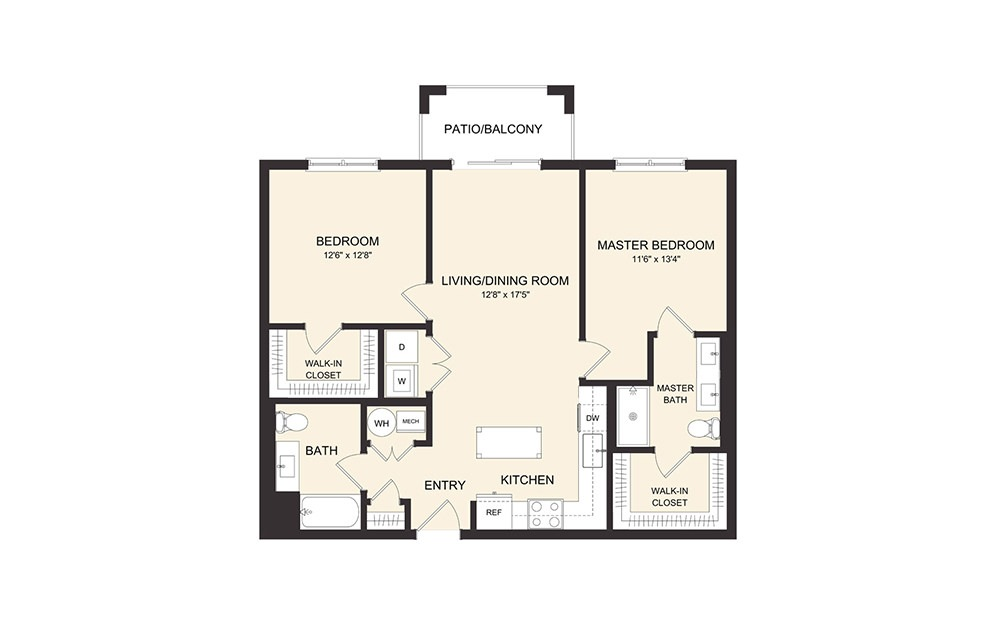 C4A 2 Bedroom 2 Bath Floorplan