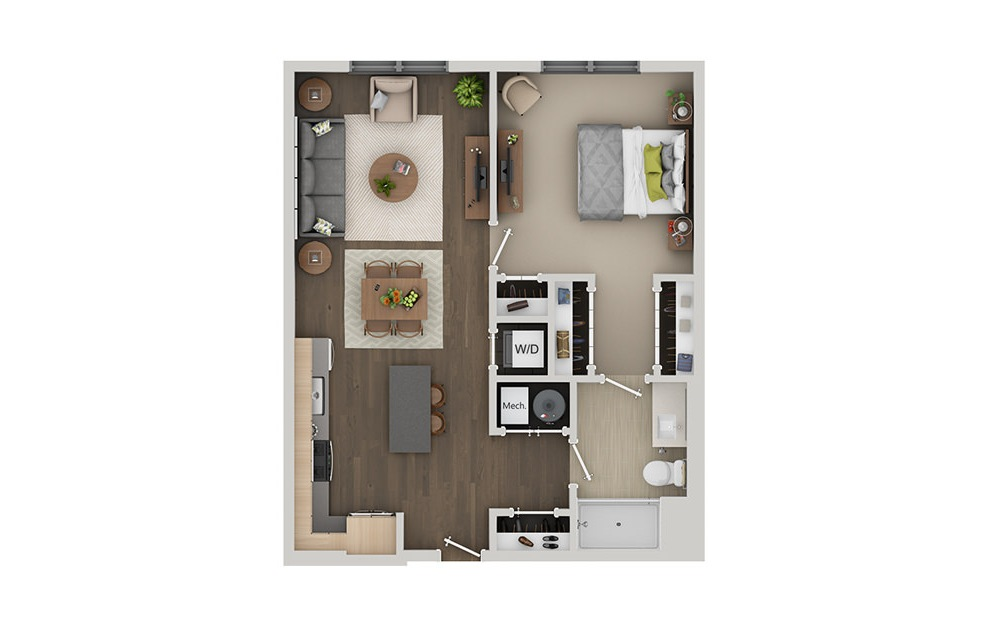 B2A - 1 bedroom floorplan layout with 1 bath and 752 square feet. (3D)