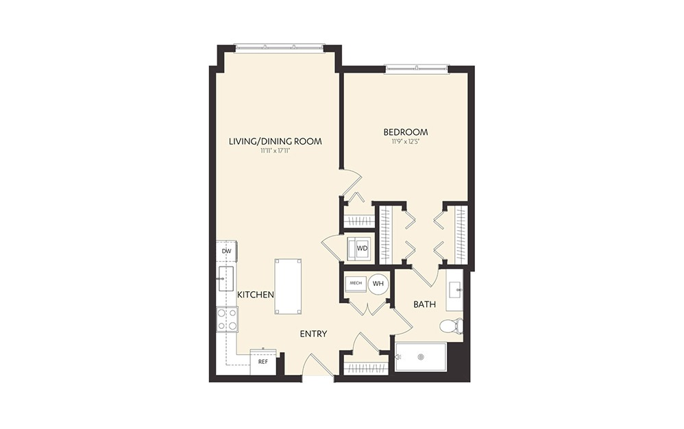 B2C - 1 bedroom floorplan layout with 1 bath and 773 square feet.