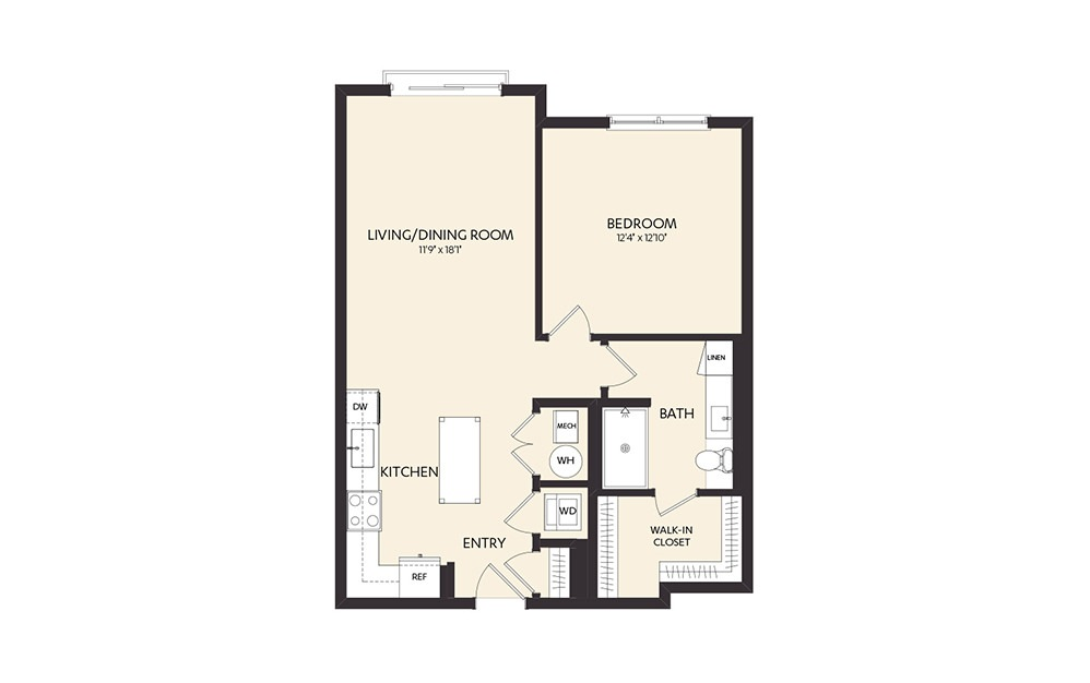 B6 - 1 bedroom floorplan layout with 1 bath and 777 square feet. (2D)