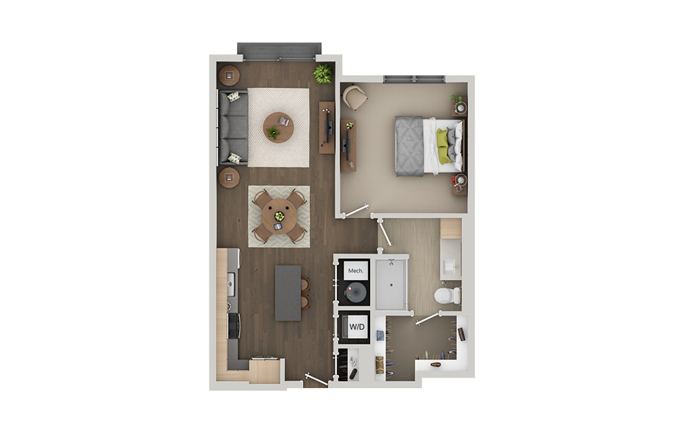 B6 - 1 bedroom floorplan layout with 1 bath and 777 square feet. (3D)