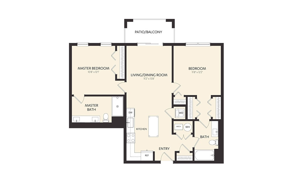 C1 - 2 bedroom floorplan layout with 2 baths and 1025 square feet.