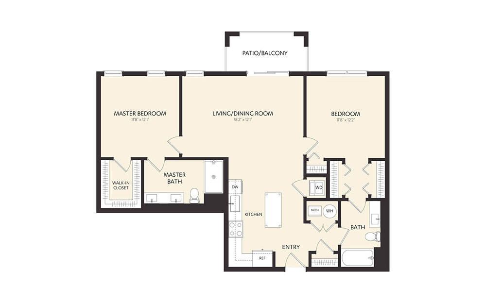 C2 - 2 bedroom floorplan layout with 2 baths and 1136 square feet. (2D)