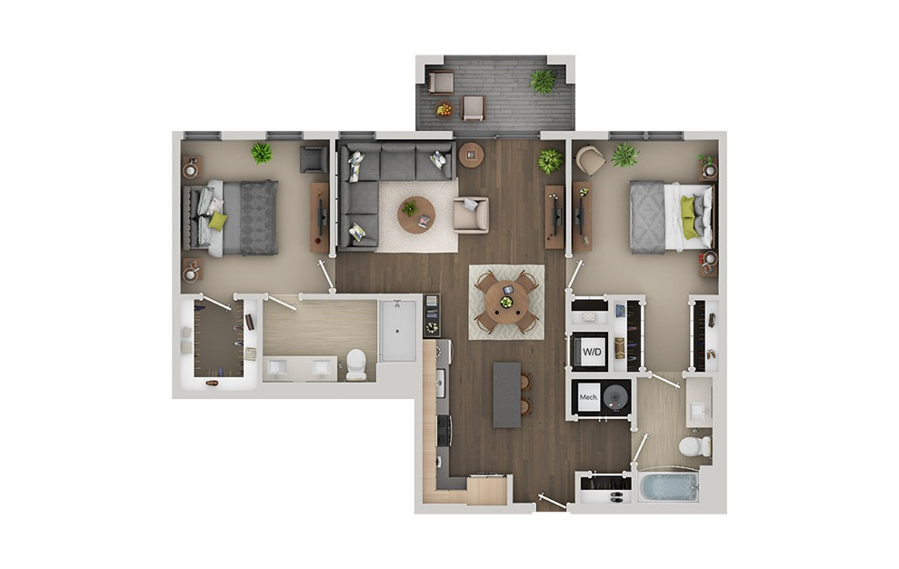 C2 - 2 bedroom floorplan layout with 2 baths and 1136 square feet. (3D)