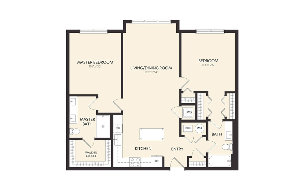 C3A - 2 bedroom floorplan layout with 2 baths and 1133 square feet.