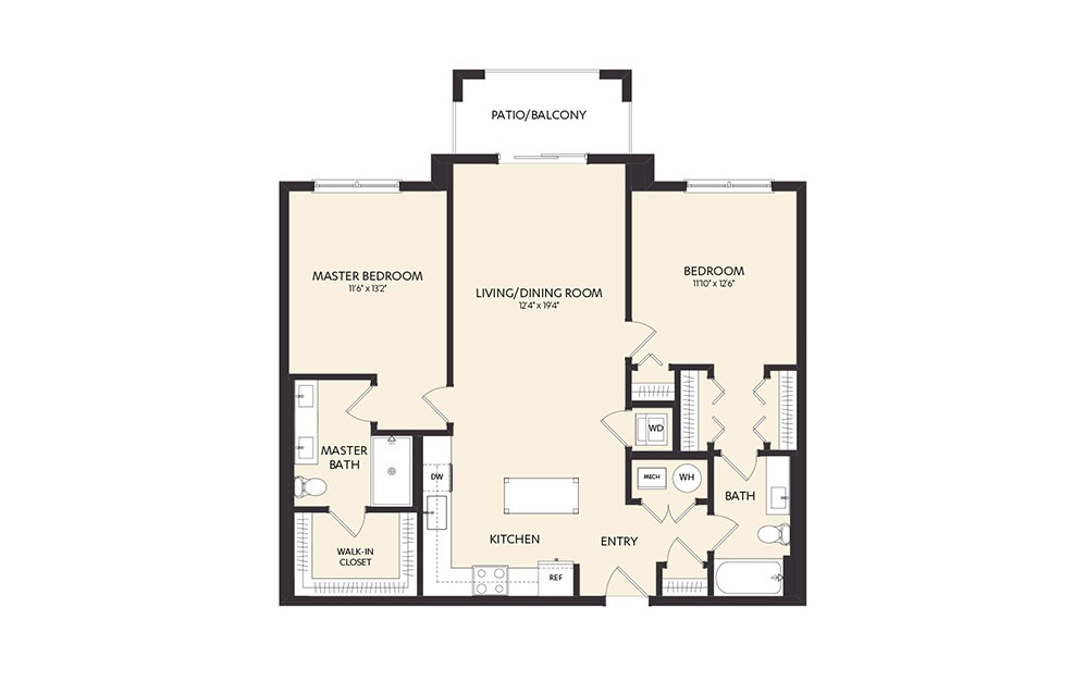 C3B - 2 bedroom floorplan layout with 2 baths and 1141 square feet. (2D)