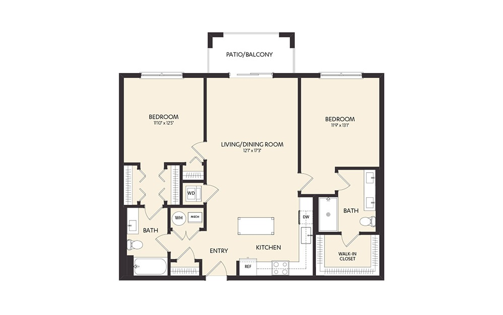 C3C - 2 bedroom floorplan layout with 2 baths and 1145 square feet.