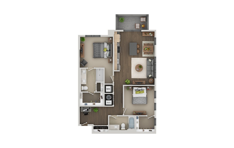 C5A - 2 bedroom floorplan layout with 2 baths and 1166 square feet. (3D)