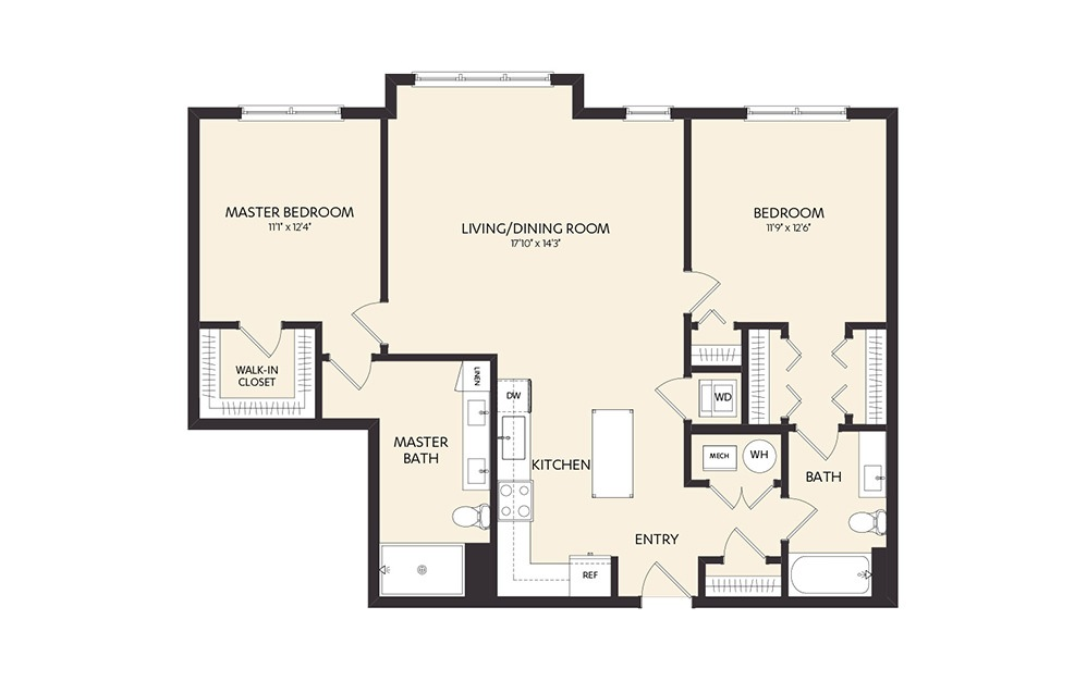 C6 - 2 bedroom floorplan layout with 2 baths and 1177 square feet. (2D)