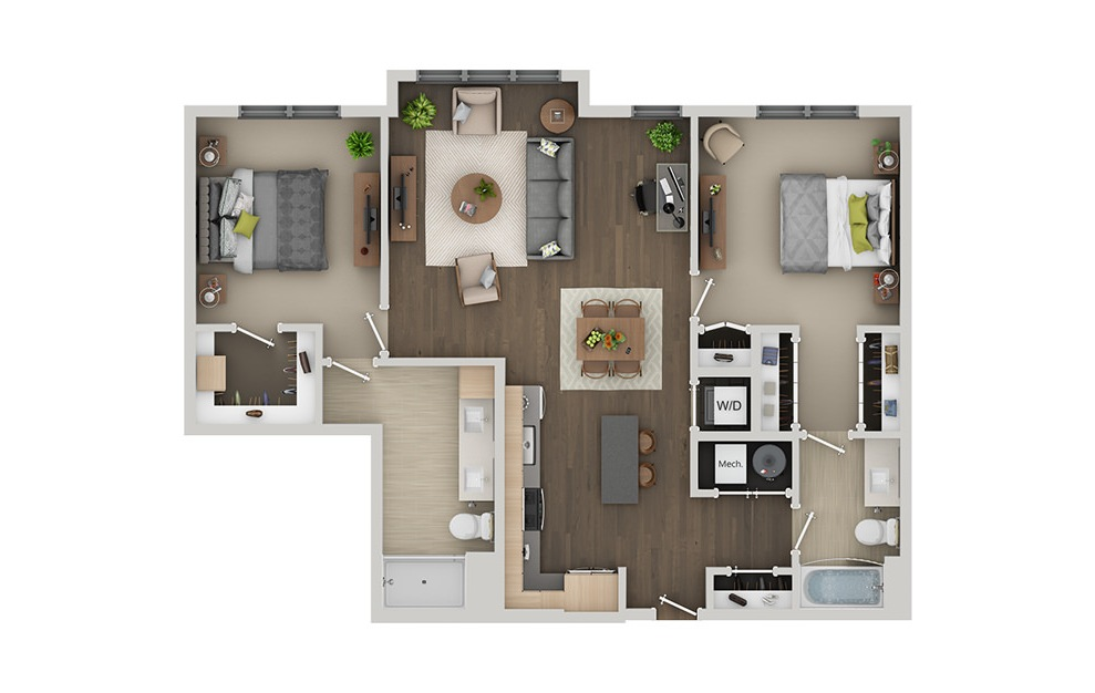 C6 - 2 bedroom floorplan layout with 2 baths and 1177 square feet. (3D)
