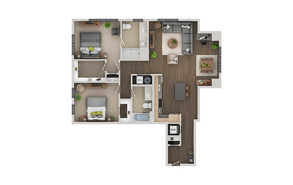C7A - 2 bedroom floorplan layout with 2 baths and 1245 square feet. (3D)