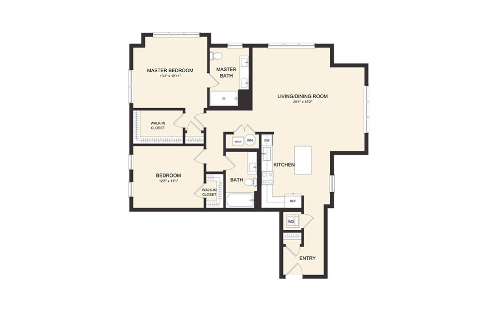 C7B - 2 bedroom floorplan layout with 2 baths and 1273 square feet.