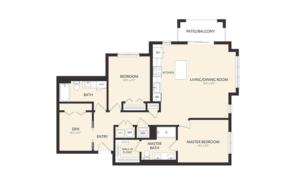 C8B - 2 bedroom floorplan layout with 2 baths and 1268 square feet. (2D)