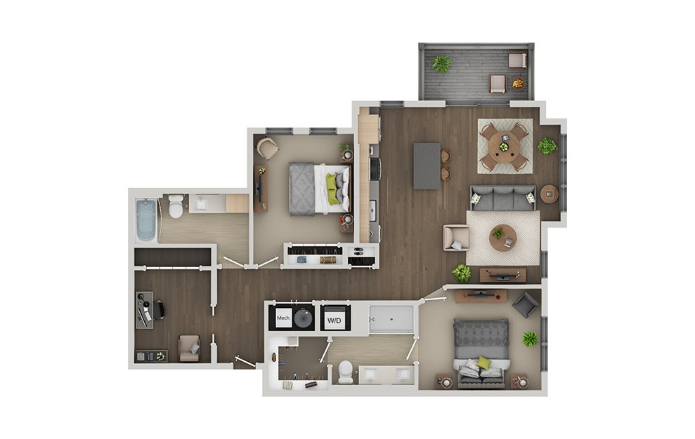 C8B - 2 bedroom floorplan layout with 2 baths and 1268 square feet. (3D)