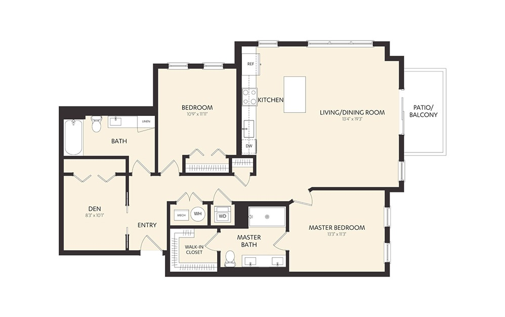 C8C - 2 bedroom floorplan layout with 2 baths and 1282 square feet.