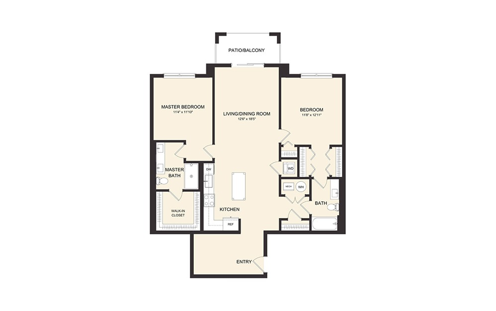 C9 - 2 bedroom floorplan layout with 2 baths and 1281 square feet. (2D)