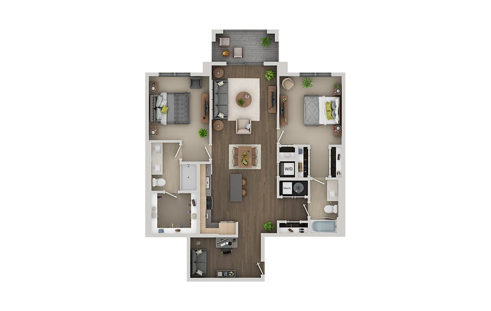 C9 - 2 bedroom floorplan layout with 2 baths and 1281 square feet. (3D)