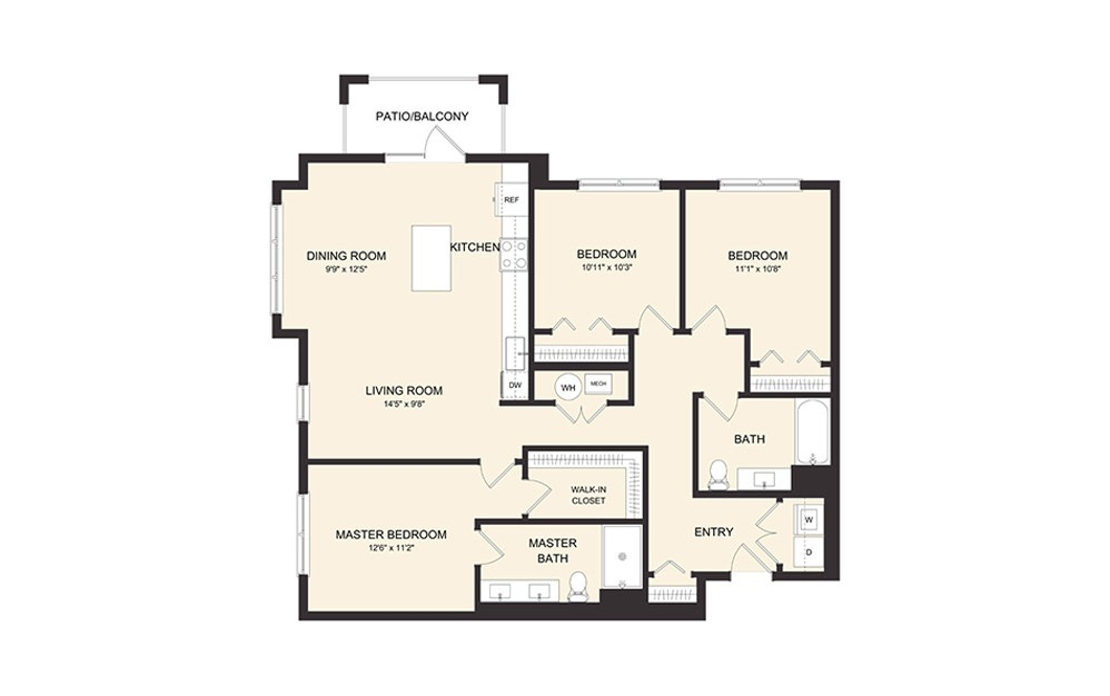 D1AH - 3 bedroom floorplan layout with 2 baths and 1364 square feet. (2D)