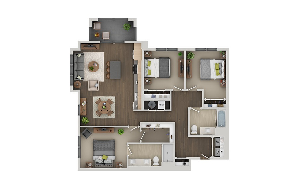 D1AH - 3 bedroom floorplan layout with 2 baths and 1364 square feet. (3D)