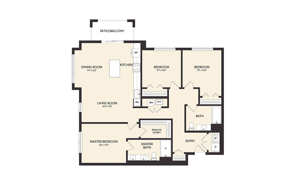 D1B - 3 bedroom floorplan layout with 2 baths and 1364 square feet. (2D)