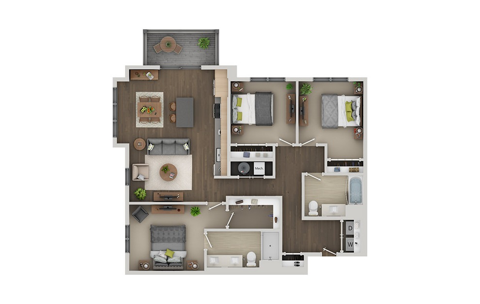 D1B - 3 bedroom floorplan layout with 2 baths and 1364 square feet. (3D)