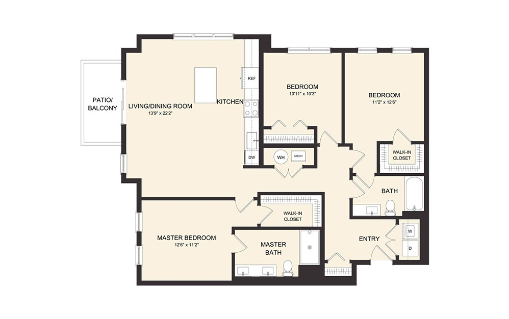 D2C - 3 bedroom floorplan layout with 2 baths and 1379 square feet.