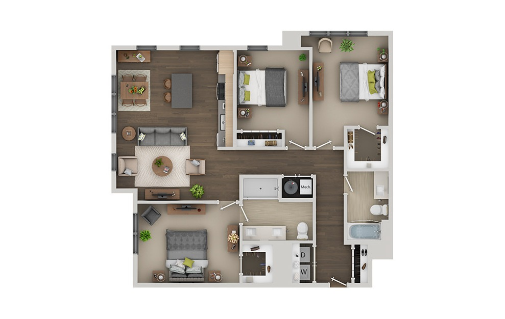 D3A - 3 bedroom floorplan layout with 2 baths and 1358 square feet. (3D)
