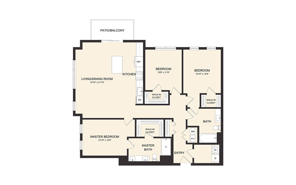 D4A - 3 bedroom floorplan layout with 2 baths and 1441 square feet. (2D)