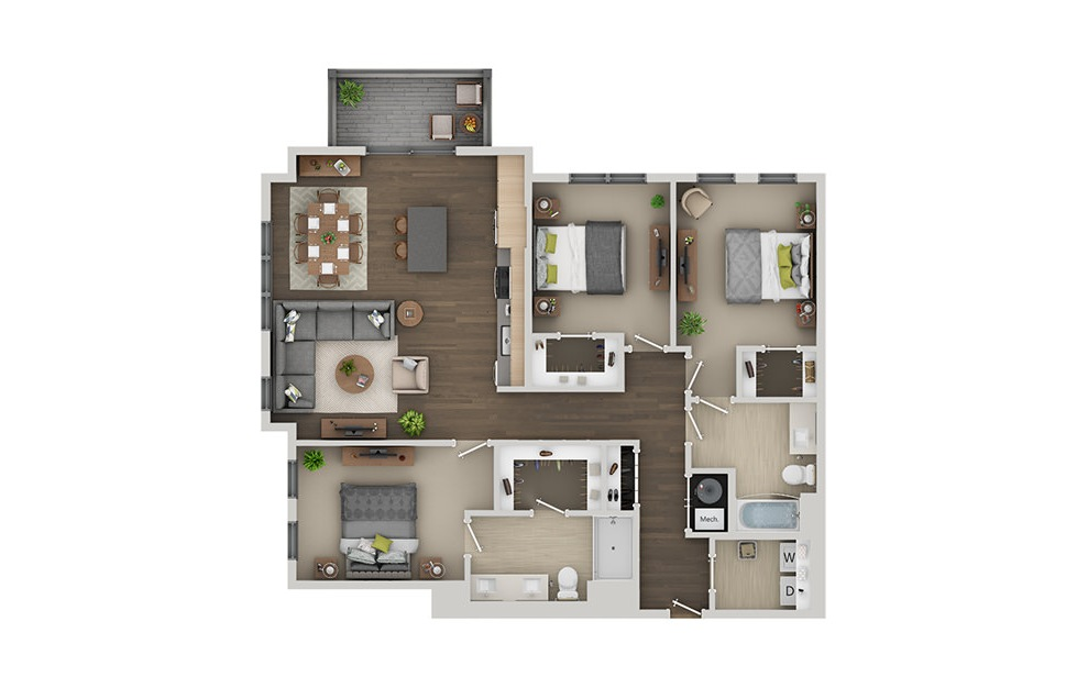 D4A - 3 bedroom floorplan layout with 2 baths and 1441 square feet. (3D)