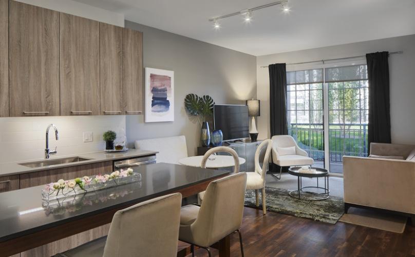 Kitchen with living room adjacent