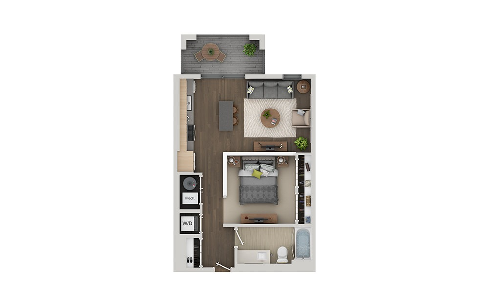 A1 Studio 1 bath Floorplan