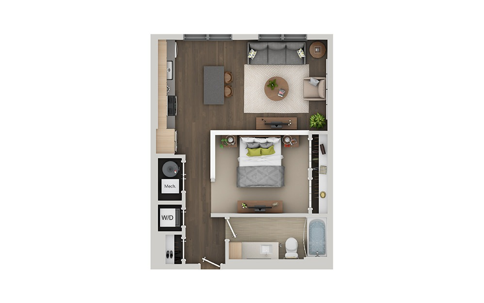 A2 Studio 1 bath Floorplan