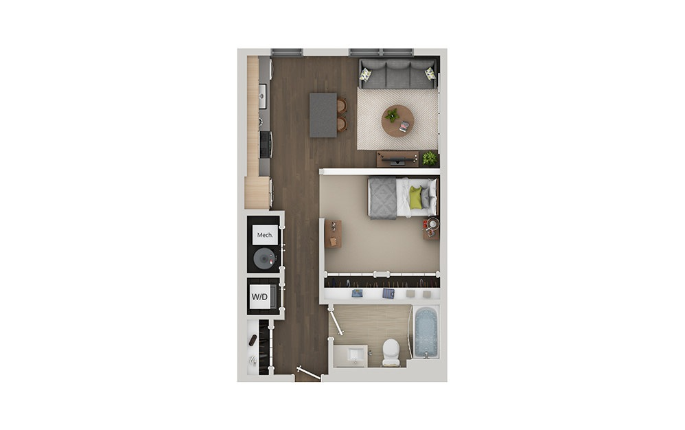 A3 Studio 1 Bath Floorplan