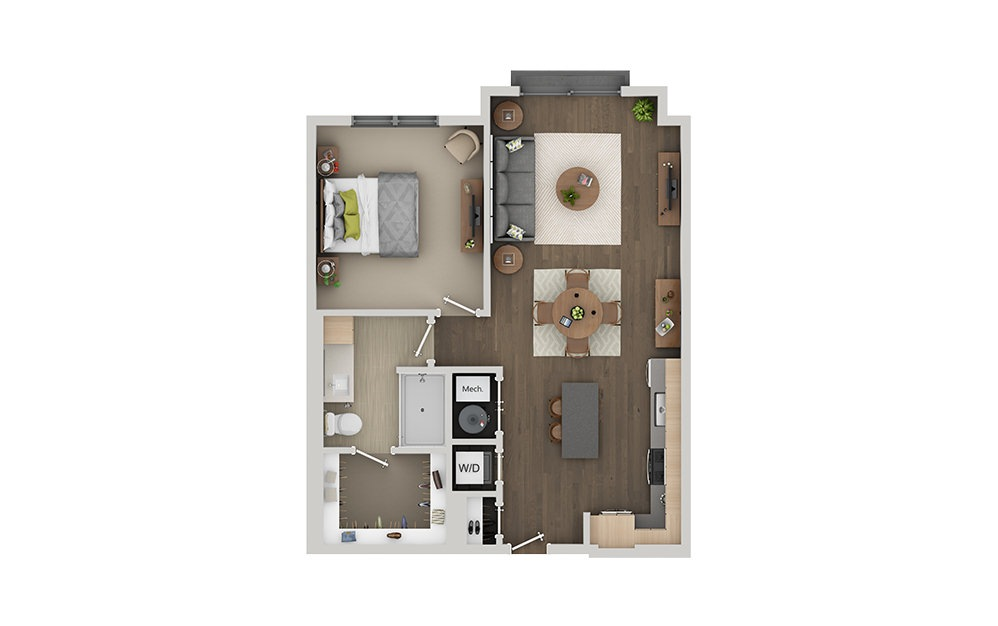 B02 Studio 1 Bath Floorplan