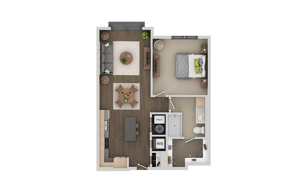 B1A 1 Bedroom 1 Bath Floorplan