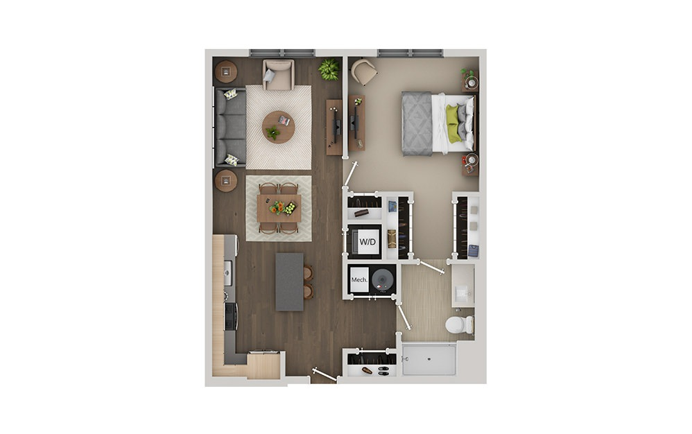B1B 1 Bedroom 1 Bath Floorplan
