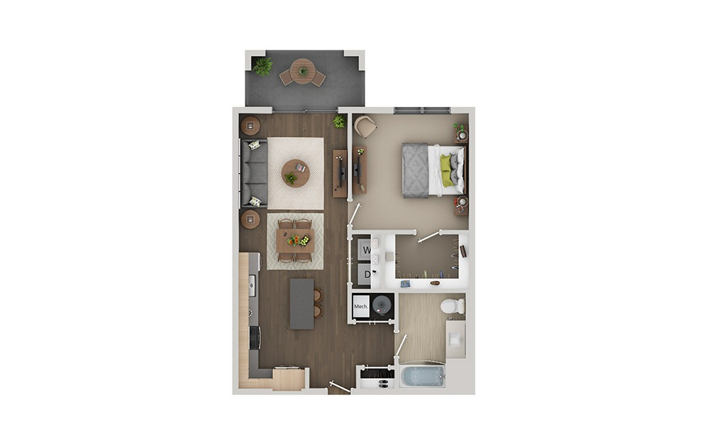 B1C 1 Bedroom 1 Bath Floorplan