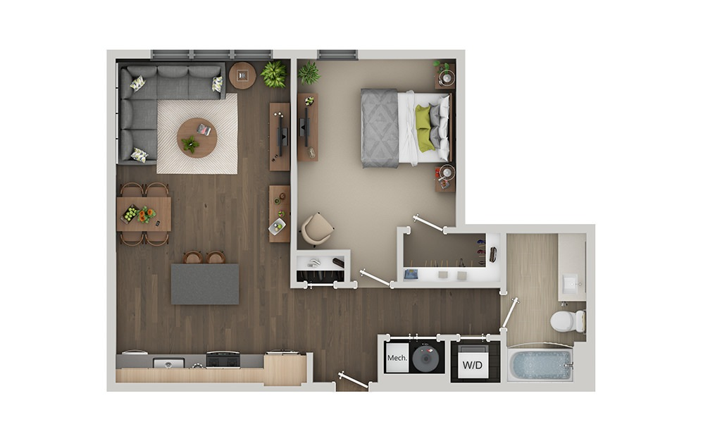 B4 1 Bedroom 1 Bath Floorplan