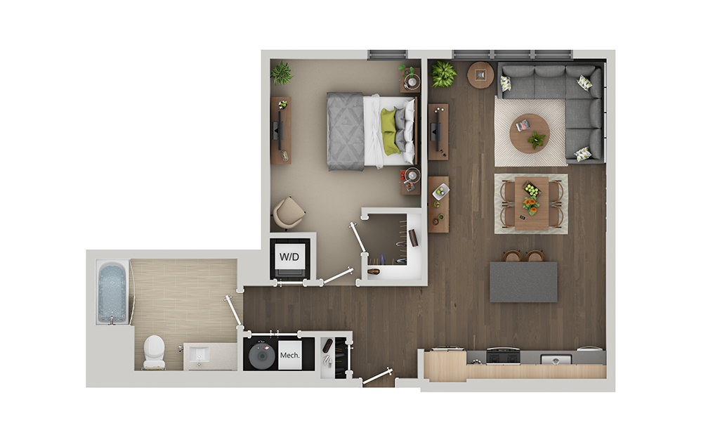 B5 1 Bedroom 1 Bath Floorplan