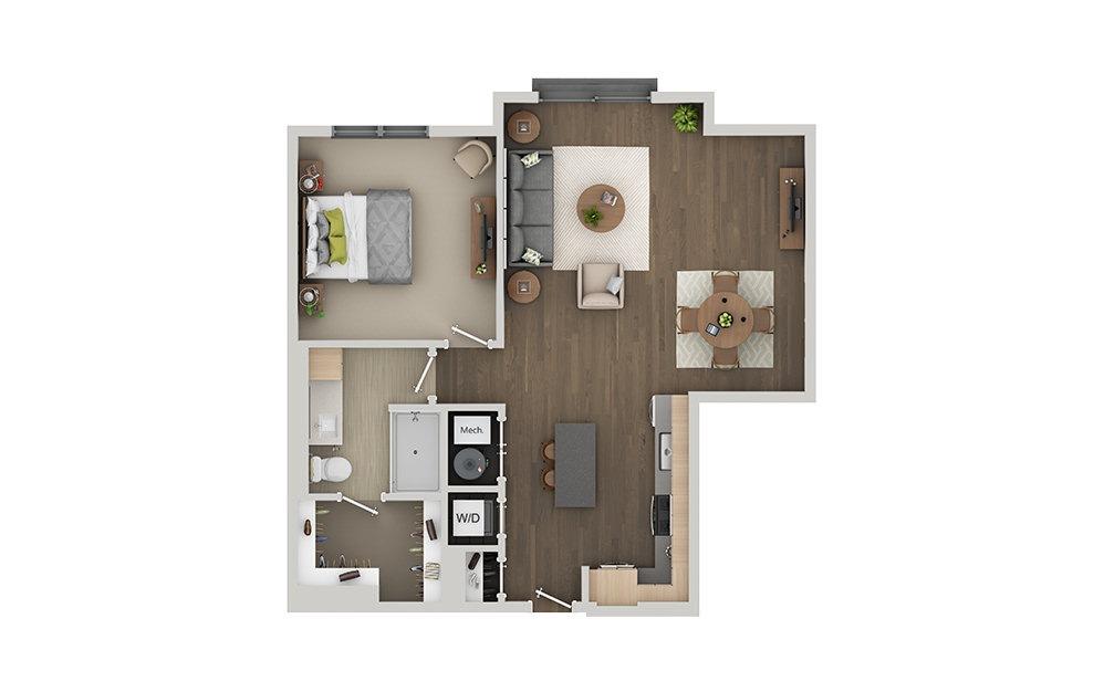 B6 1 Bedroom 1 Bath Floorplan