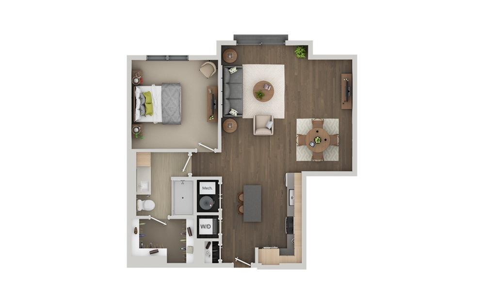 B8 1 Bedroom 1 Bath Floorplan