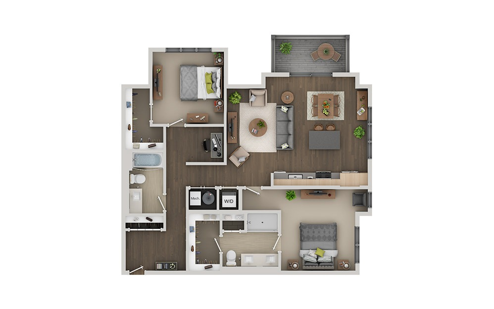 C07 Studio 1 Bath Floorplan