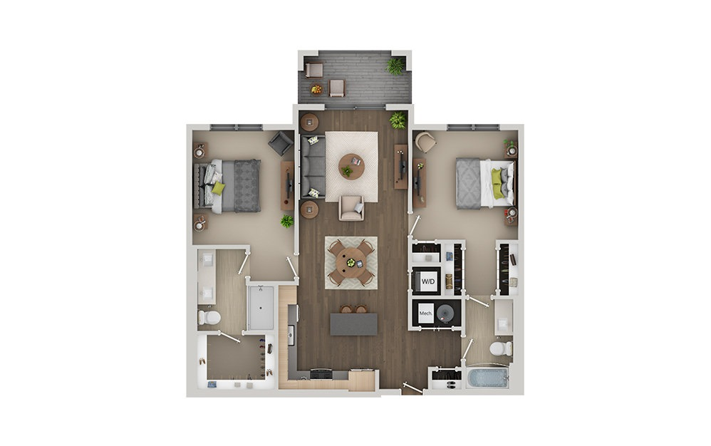 C1 2 Bedroom 2 Bath Floorplan