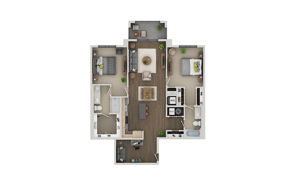 C10 Studio 1 Bath Floorplan