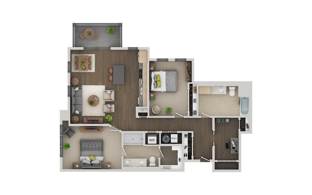 C11A 2 Bedroom 2 Bath Floorplan