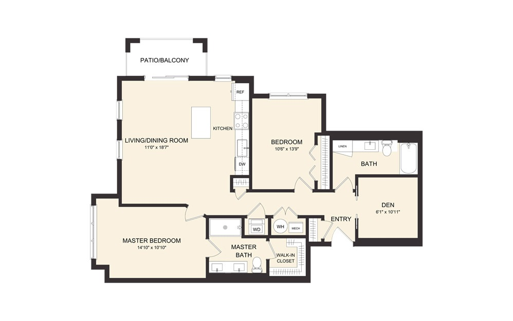C11B 2 Bedroom 2 Bath Floorplan