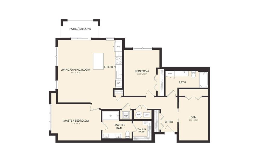 C11D 2 Bedroom 2 Bath Floorplan